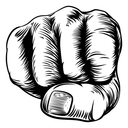 An original design of a fist hand in a vintage woodcut woodblock style