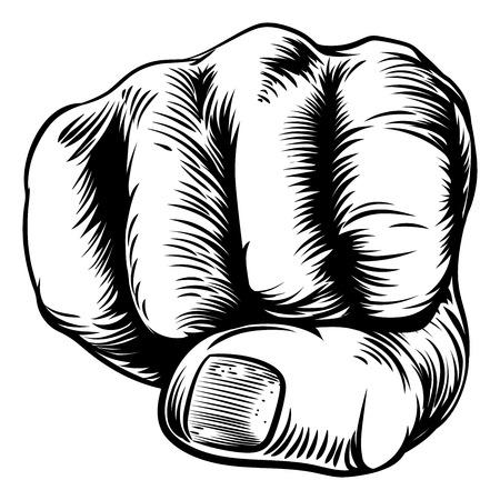 Un diseño original de una mano puño en un estilo de grabado en madera de la vendimia