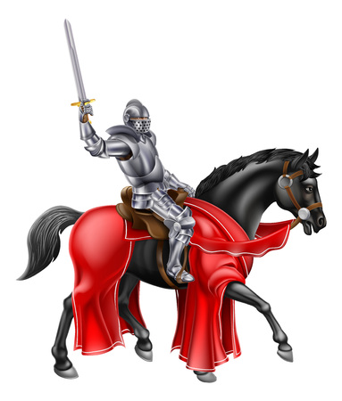 Knight mounted on a black horse holding up his sword Stock Illustratie