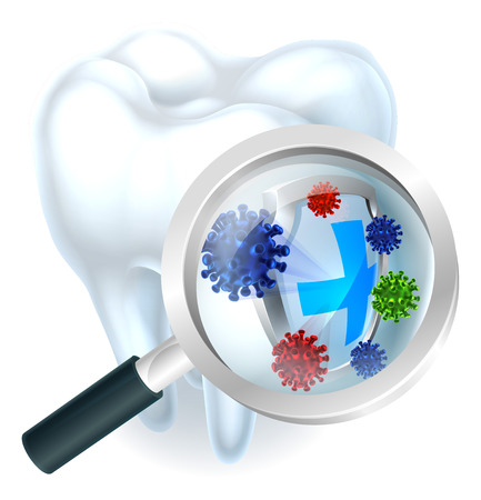 Microscopic bacteria tooth protection concept of a tooth with a magnifying glass showing a tooth being protected from microscopic bacteria or viruses by a shield