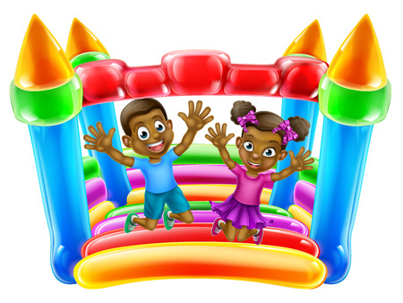 A young black boy and girl having fun jumping on a bouncy castle
