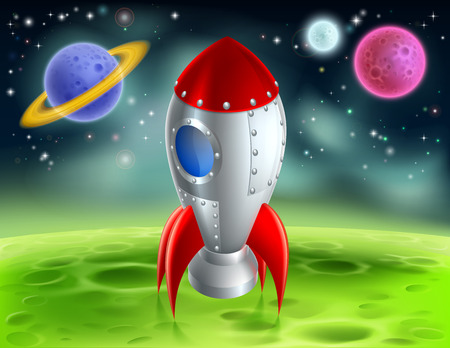 An illustration of a cartoon retro space rocket ship or space ship landed on a moon or planet with alien planets and stars in the background