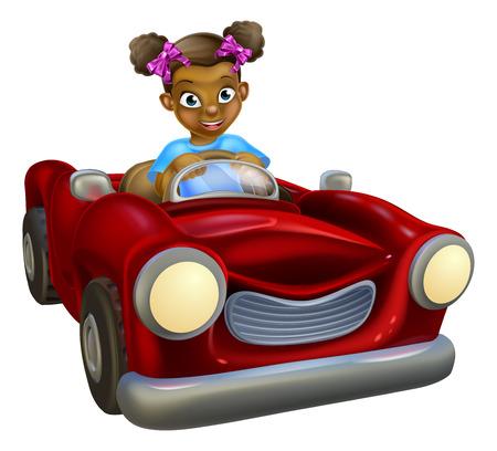 A cartoon black girl having fun driving a red car