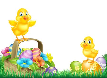 Cartoon Pasen Chicks baby kip vogels, chocolade beschilderde paaseieren, de lentebloemen en Pasen mand in een veld. Geïsoleerd als een voettekst grens design element