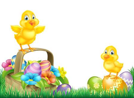 Cartoon Easter Chicks baby chicken birds, chocolate painted Easter Eggs, spring flowers and Easter basket in a field. Isolated as a footer border design element Illustration