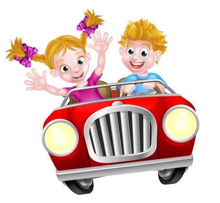 Cartoon garçon et fille amusant conduire vite dans une voiture