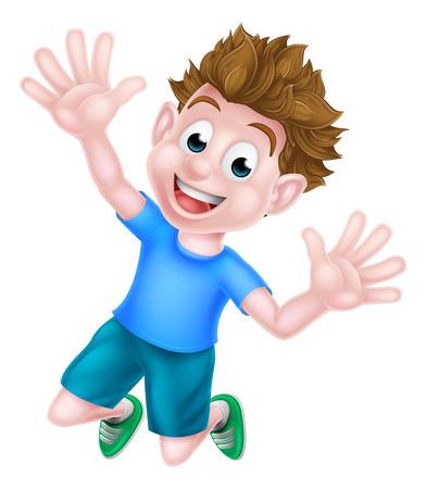Un niño de dibujos animados niño feliz saltando de alegría.