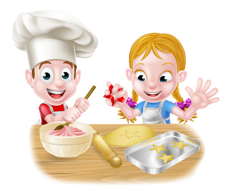 Cartoon chef children baking dessert cakes and biscuits in the kitchen Vectores