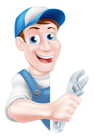 Cartoon plumber or auto repair mechanic service handyman worker man holding a spanner and peeking round sign Иллюстрация