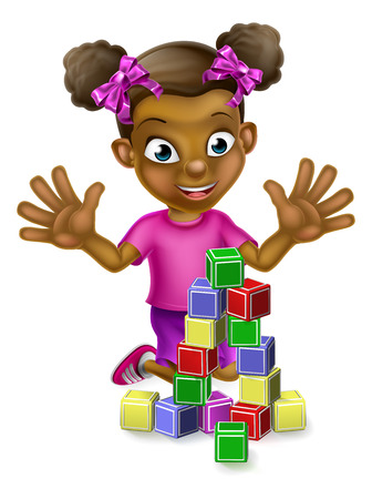 Cartoon black girl playing with stacking toy building blocks