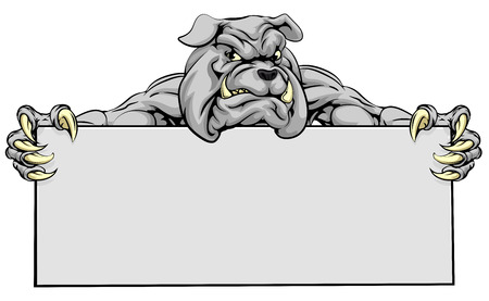 A mean looking bulldog mascot holding a sign Vectores