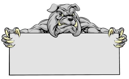 Un significa guardare bulldog mascotte che tiene un segno