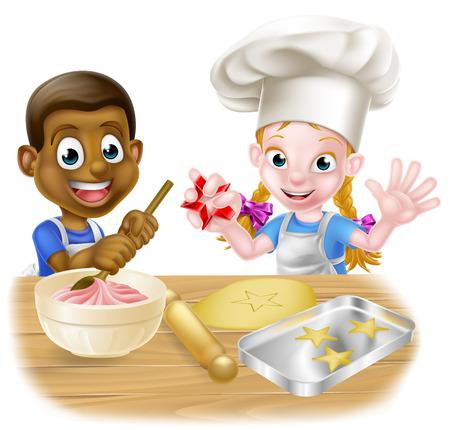 Los dibujos animados niños y niñas, uno blanco negro, vestidos de cocineros o los panaderos en delantales hornear pasteles y galletas