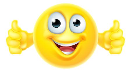 Un icono emoji la historieta que parece muy feliz con sus pulgares hacia arriba, a él le gusta Ilustración de vector