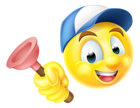Cartoon emoji emoticon smiley face plumber character holding a sink or toilet plunger