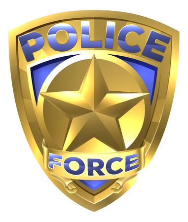 Policjant Siła Złota Odznaka z gwiazdą w środku Ilustracje wektorowe