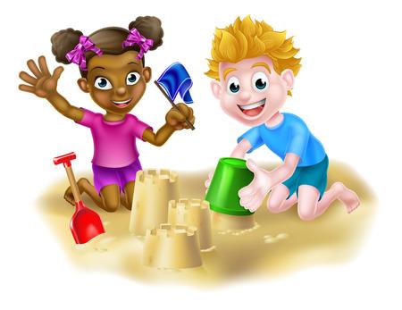 Garçon et fille ayant des châteaux de sable d'amusement sur une plage ou dans un bac à sable