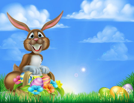 Cartoon Easter scene. Easter bunny with a basket full of decorated chocolate Easter eggs on an Easter egg hunt in a field