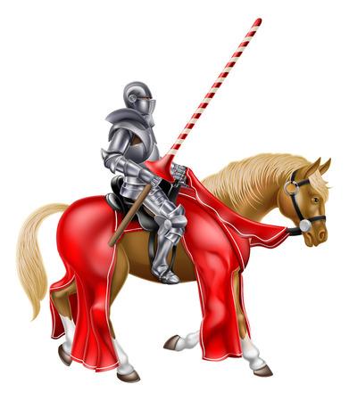 Un chevalier médiéval en armure tenant une lance prêt pour un tournoi de joutes