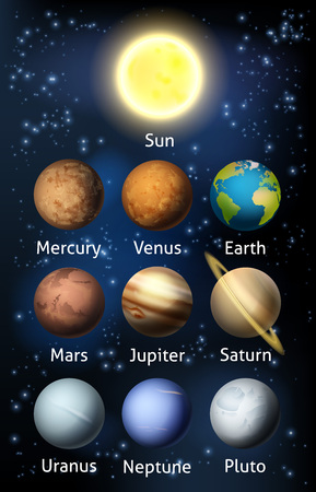 An illustration of the planets of the solar system