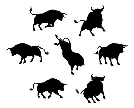Una serie di toro bestiame sagome di animali
