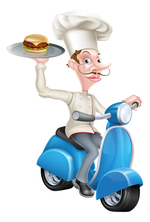 An Illustration of a Cartoon Chef on Scooter Moped Delivering Burger