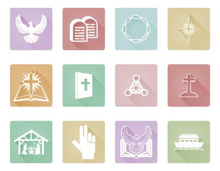 Eine Reihe von Christian Icons und Symbole einschließlich Stein Gebote Tabletten, kreuz, taube und Krippen