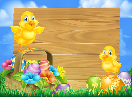 Wooden cartoon Easter signboard with Easter Chicks baby chicken birds, chocolate painted Easter Eggs, spring flowers and Easter basket in a grassy field
