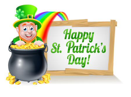 Leprechaun cartoon St Patricks Day character peeking over a pot of gold at the end of the rainbow with a St Patricks Day sign