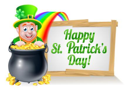 Leprechaun de dibujos animados carácter Día de San Patricio mira a escondidas sobre una olla de oro al final del arco iris con un signo de Día de San Patricio