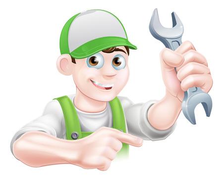 Un fontanero de dibujos animados o un hombre mecánico con una llave inglesa y apuntando