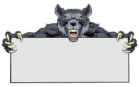 Wolf werewolf mascot holding a sign
