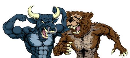 A cartoon bear fighting a cartoon bull mascot character standing for the bears versus bulls stock market metaphor