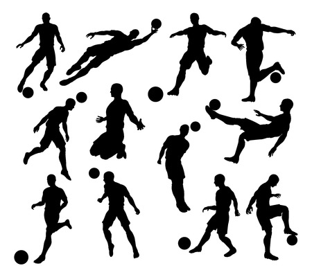 A set of Silhouette Soccer Players in lots of different poses Vectores