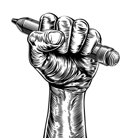 A hand in a fist holding a pencil in a vintage propaganda poster woodcut etching style