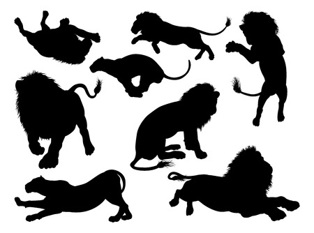 Lion silhouettes. A set of male and female lions in silhouette Illustration