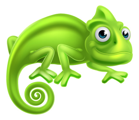 A cartoon cute chameleon lizard character Ilustracja