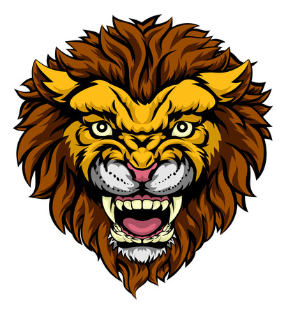An illustration of a mean powerful lion animal face sports mascot