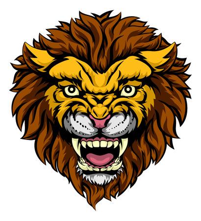 Een illustratie van een gemiddelde krachtige leeuw dier gezicht sport mascotte Vector Illustratie