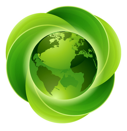 Conceptual icon of circular green intertwined leaves around a globe or planet earth.