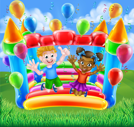 Two children, a boy and girl, having fun jumping on a bouncy castle with balloons and streamers