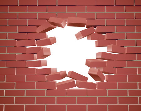 Breaking through a brick wall with a hole Stock Illustratie