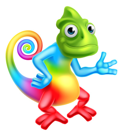 A cartoon rainbow chameleon lizard character mascot Ilustração