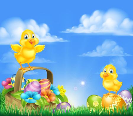 Cartoon Pasen Chicks baby kip vogels, chocolade beschilderde paaseieren, de lentebloemen en Pasen mand in een veld met opkomende zon.