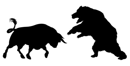 A bear fighting a bull standing for the bears versus bulls stock market metaphor, in silhouette