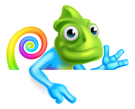 A rainbow cartoon chameleon lizard character mascot pointing down at a sign