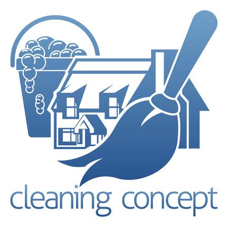 Koncepcja ikony sprzątanie domu z mopem domu lub prochowiec i wiadrem mydła
