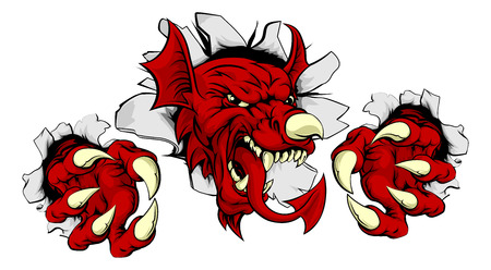 Welsh red dragon of Wales Y Ddraig Goch smashing through the background with his claws. Sports mascot. Vector Illustration