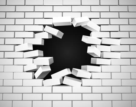 Biała ściana jest rozbita lub rozerwaniu