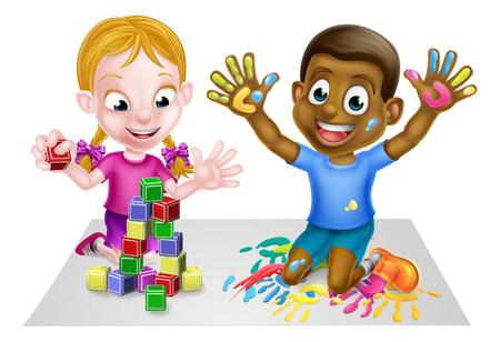 Cartoon garçon et une fille jouant avec des jouets, avec des peintures et des blocs de construction de jouets